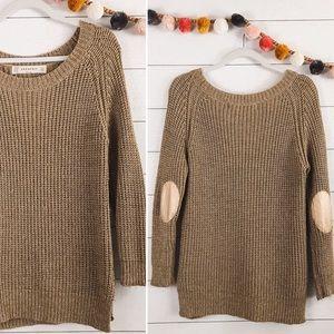 ZARA   Gold Metallic Elbow Patch Knit Sweater